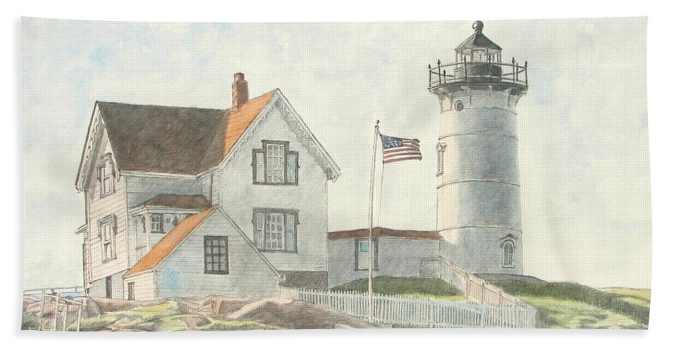 Watercolor Bath Towel featuring the painting Sunrise At Nubble Light by Dominic White