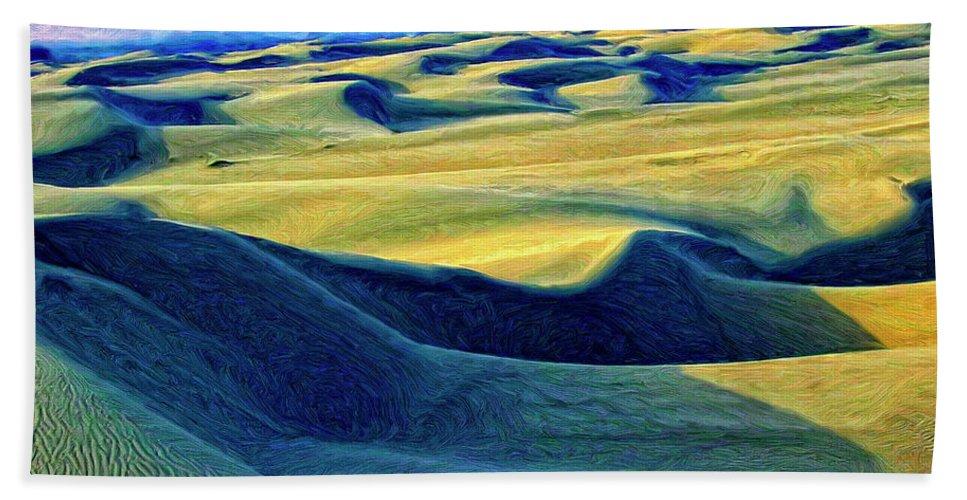 Sunrise At Oceano Sand Dunes Bath Sheet featuring the painting Sunrise At Oceano Sand Dunes by Dominic Piperata