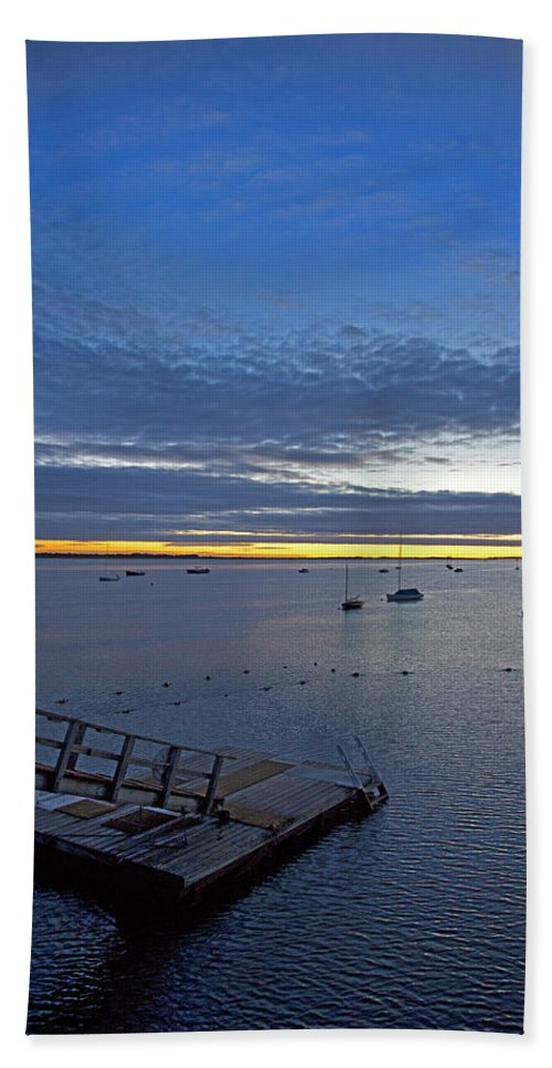 Barnstable Hand Towel featuring the photograph Sunrise At The Barnstable Yacht Club by Charles Harden