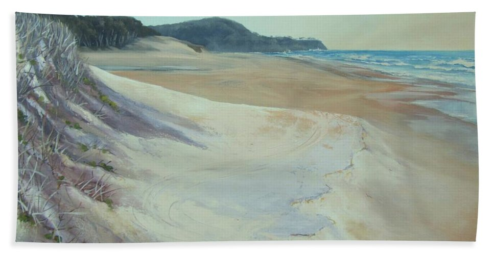 Sand Dunes Hand Towel featuring the painting Sunrise Beach And Lions Head Noosa Heads Queensland by Chris Hobel