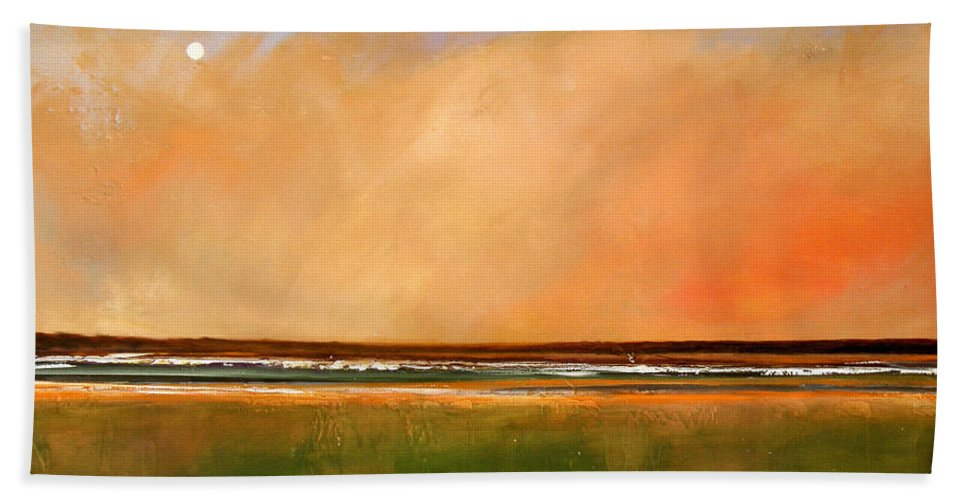 Sunrise Bath Sheet featuring the painting Sunrise Beach by Toni Grote