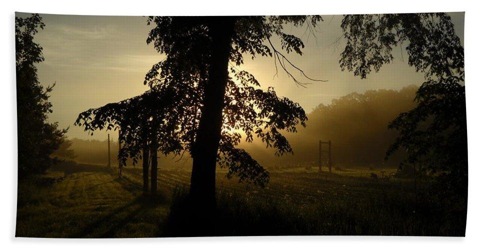 Sunrise Hand Towel featuring the photograph Sunrise Behind Elm Tree by Kent Lorentzen