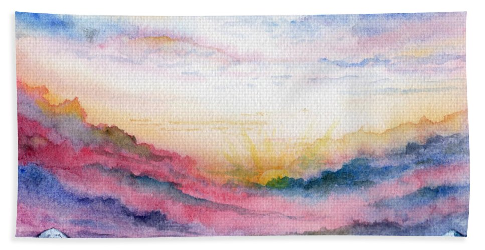 Watercolor Bath Towel featuring the painting Sunrise by Brenda Owen