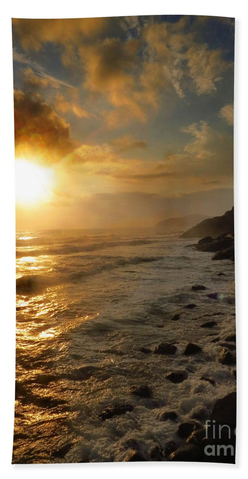 Sunrise Bath Sheet featuring the photograph Sunrise By The Rocks by James Hennis