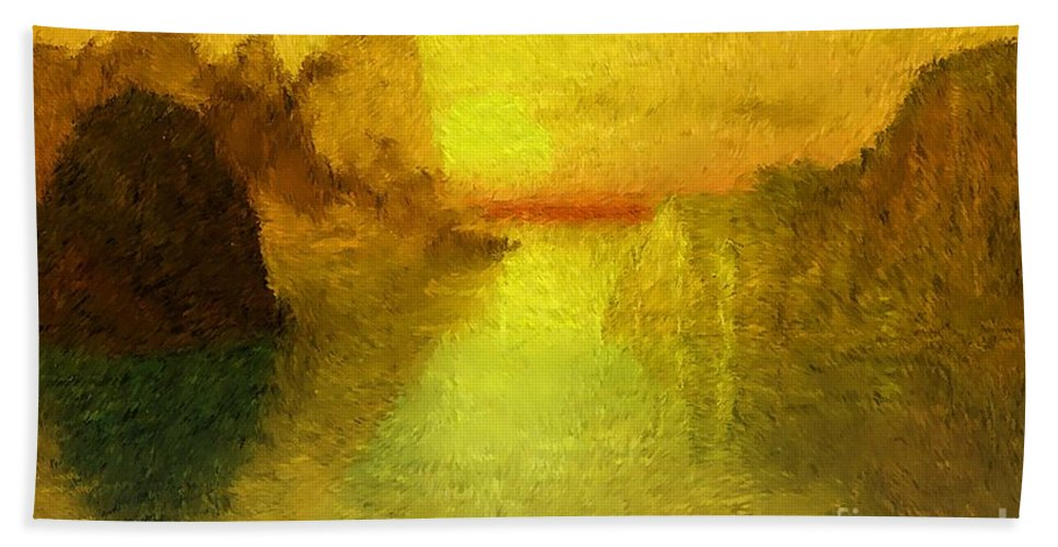 Nature Bath Sheet featuring the digital art Sunrise by David Lane