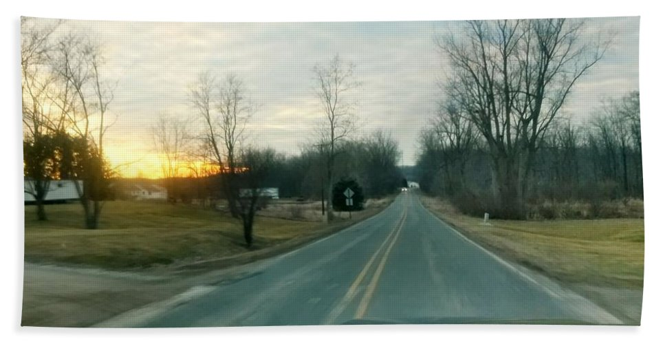 Driving Hand Towel featuring the photograph Sunrise Down The Road by Patti Pappas