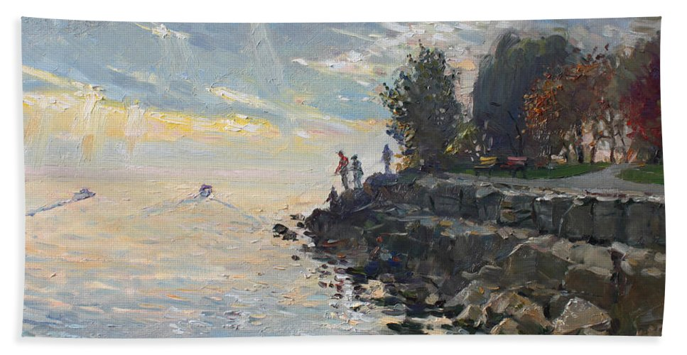 Lake Shore Hand Towel featuring the painting Sunrise Fishing by Ylli Haruni