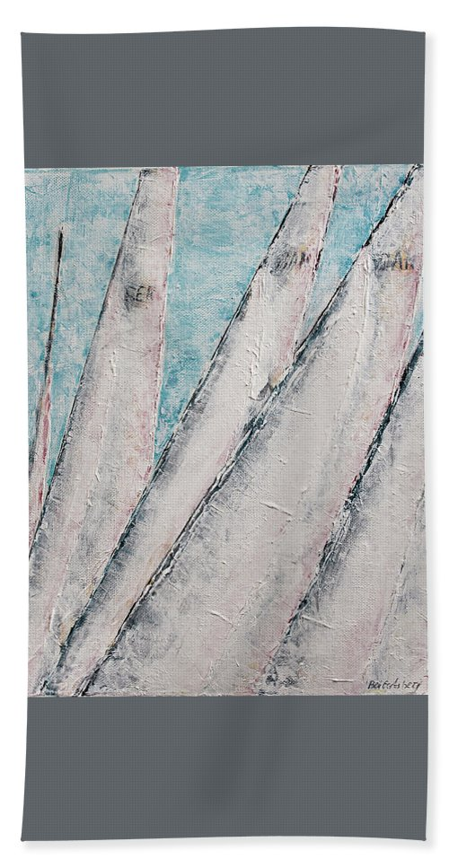 Abstract Sail Hand Towel featuring the painting Sunrise Fog Regatta by Ben Gertsberg