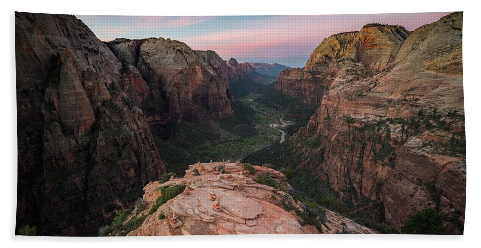 Zion National Park Hand Towel featuring the photograph Sunrise From Angels Landing by James Udall