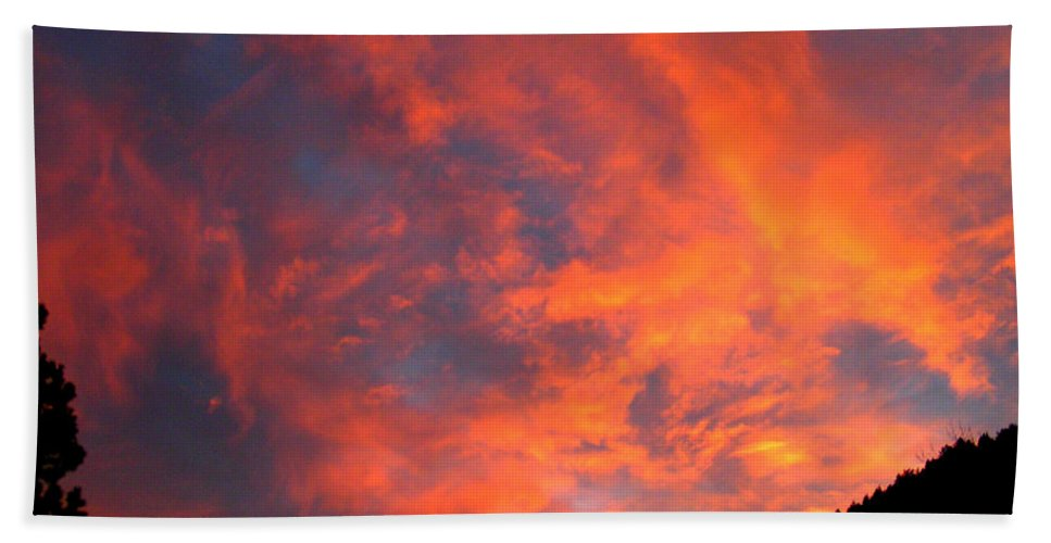 Sunrise Clouds Colorado Rocky Mountains Nature Zen Simple Colorful Big Sky Bath Sheet featuring the photograph Sunrise by George Tuffy