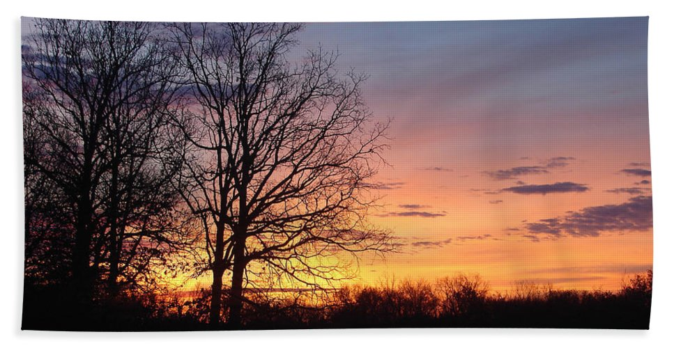 Tree Black Orange Bath Sheet featuring the photograph Sunrise In Illinois by Luciana Seymour