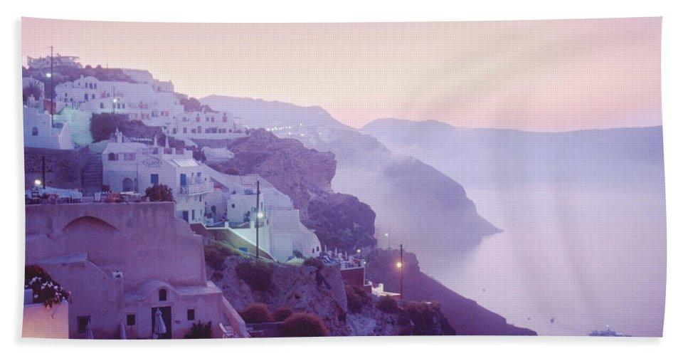 Oia Bath Towel featuring the photograph Sunrise In Oia by Yuri Lev