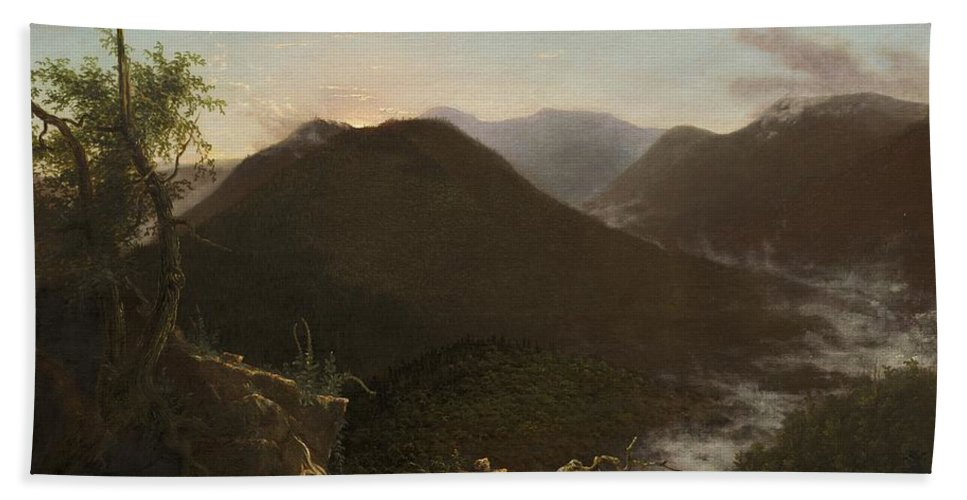 Hand Towel featuring the painting Sunrise In The Catskills by Thomas Cole