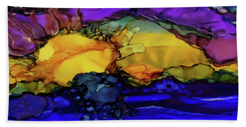 Abstract Alcohol Ink Hand Towel featuring the painting Sunrise by Karen Chatham