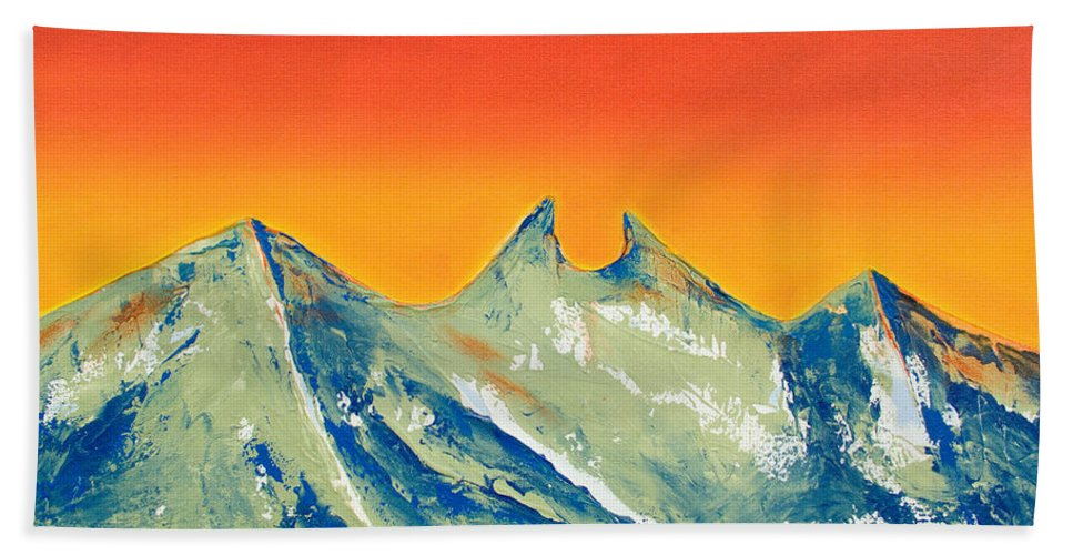 Mountain Painting Hand Towel featuring the painting Sunrise La Silla by Kandyce Waltensperger