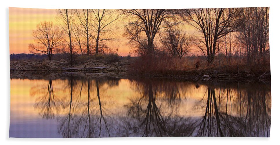 Sunrise Bath Sheet featuring the photograph Sunrise Lake Reflections by James BO Insogna