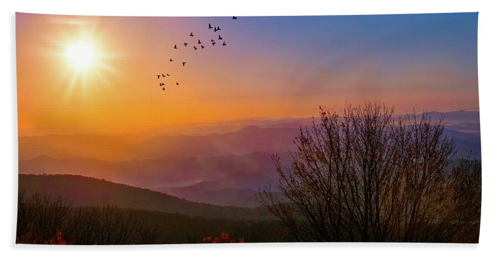 Appalacia Bath Sheet featuring the photograph Sunrise On The Blue Ridge by Lynn Bauer