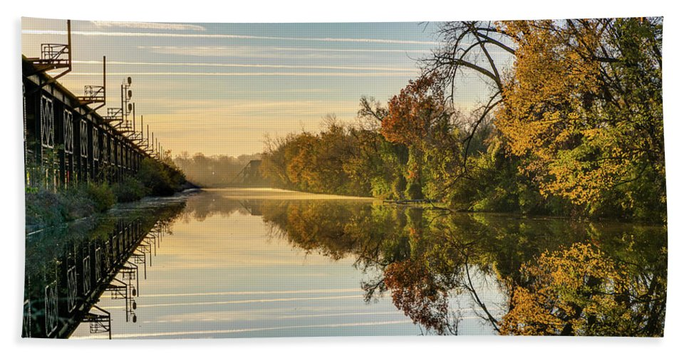 Sunrise Bath Sheet featuring the photograph Sunrise On The Canal by Tim Wilson