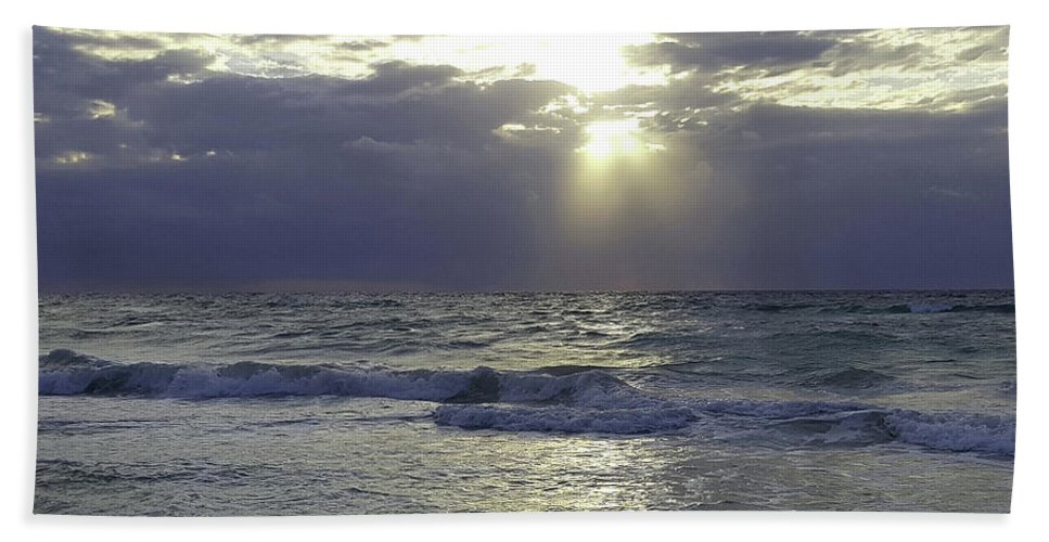 Sun Rise Over The Gulf Of Mexico Hand Towel featuring the photograph Sunrise Over Gulf Of Mexico by Imagery-at- Work