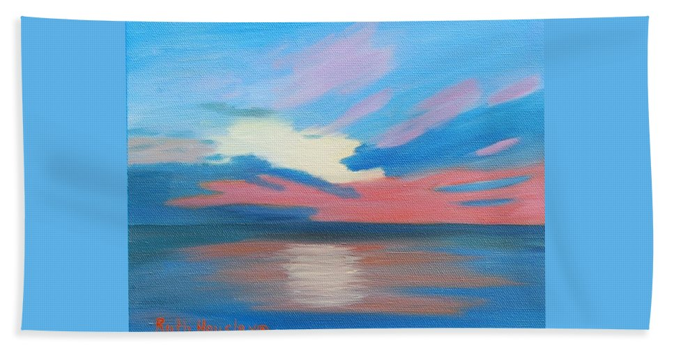 Fine Art Bath Towel featuring the painting Sunrise Over Ocean City Maryland by Ruth Housley