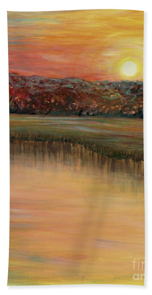 Sunrise Hand Towel featuring the painting Sunrise Over The Marsh by Nadine Rippelmeyer