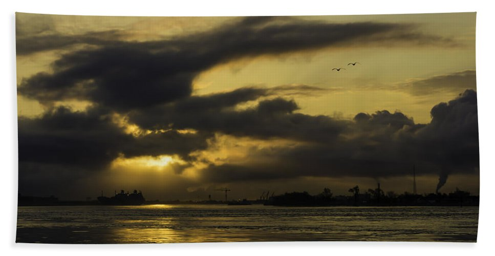 Chris Coffee Bath Sheet featuring the photograph Sunrise Over The Ninth Ward by Printed Pixels