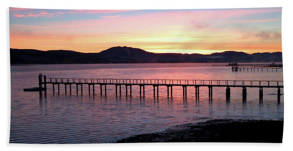 Sunrise Hand Towel featuring the photograph Sunrise Over Tomales Bay by Charlene Mitchell