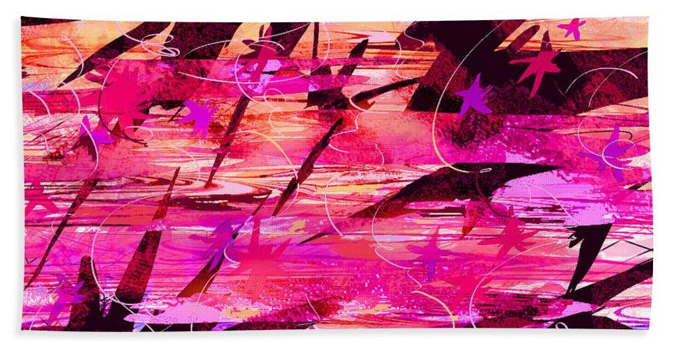 Abstract Bath Sheet featuring the digital art Sunrise by Rachel Christine Nowicki