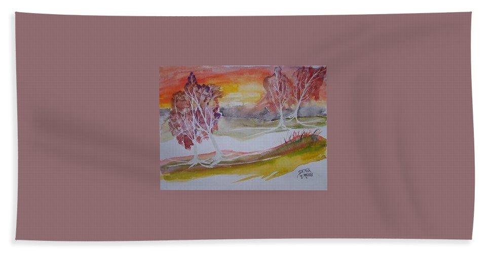 Impressionistic Bath Towel featuring the painting SUNRISE surreal modern landscape painting fine art poster print by Derek Mccrea