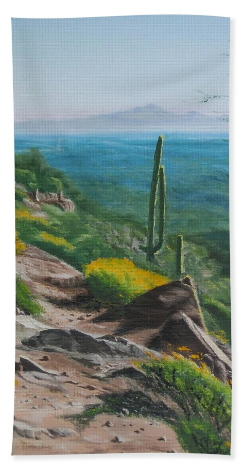 Landscape Bath Sheet featuring the painting Sunrise Trail by Lea Novak