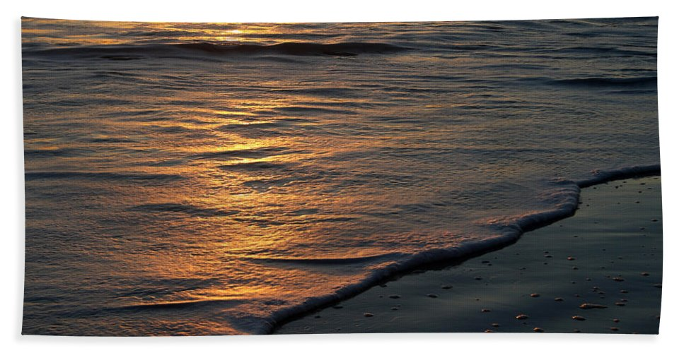 Ocean Beach Sun Sunrise Reflection Wave Tide Bright Orange Gold Water Vacation Hand Towel featuring the photograph Sunrise Waves by Andrei Shliakhau