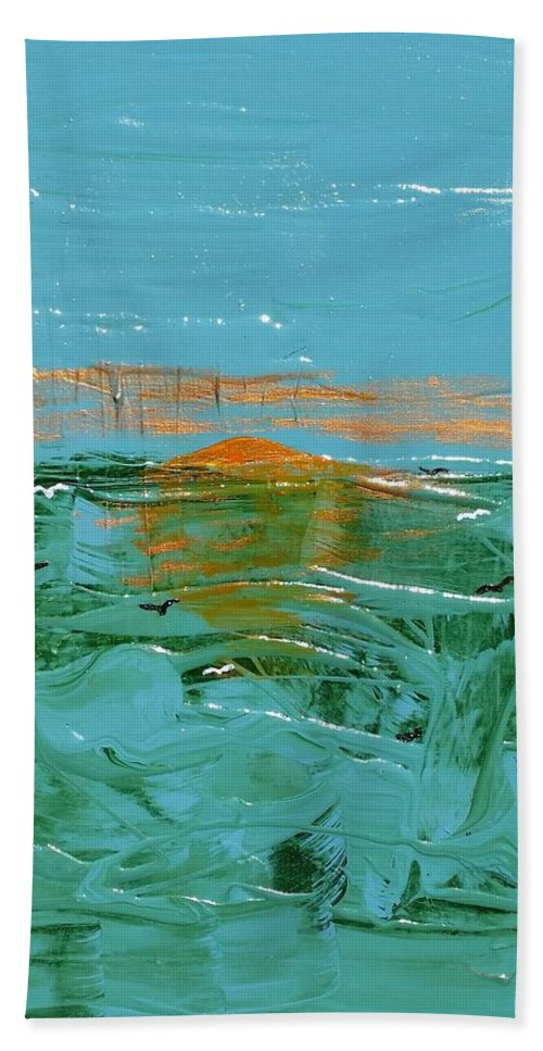 Sea Hand Towel featuring the painting Sunrise With Gulls by Peter Nervo