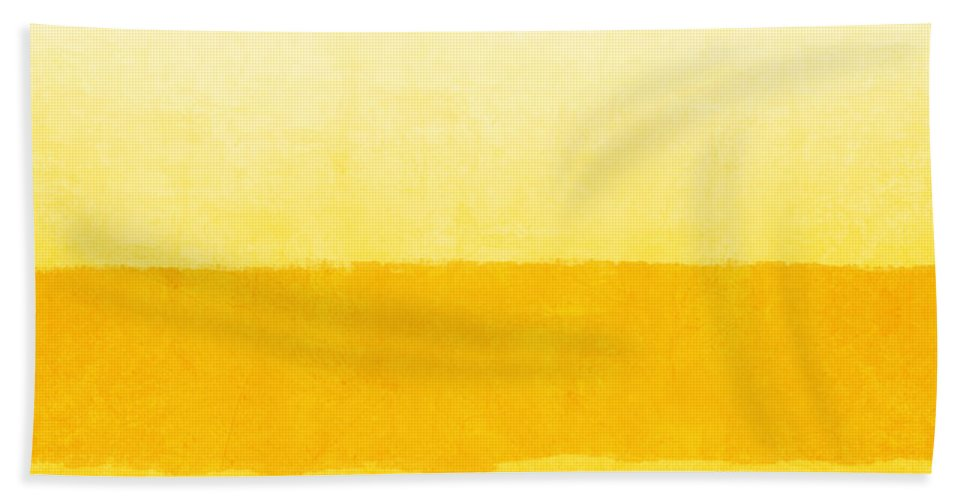 Abstract Bath Towel featuring the painting Sunrise- Yellow Abstract Art by Linda Woods by Linda Woods