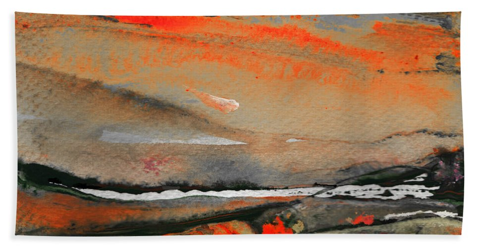Gouache Hand Towel featuring the painting Sunset 10 by Miki De Goodaboom