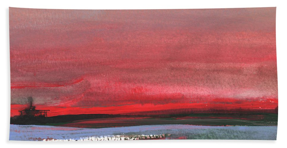 Watercolour Landscape Hand Towel featuring the painting Sunset 12 by Miki De Goodaboom