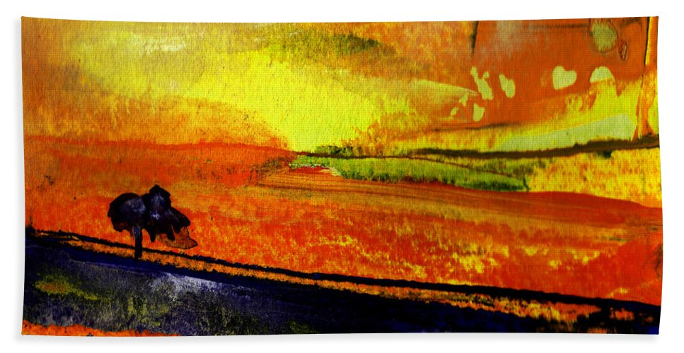 Sunset Hand Towel featuring the painting Sunset 15 by Miki De Goodaboom