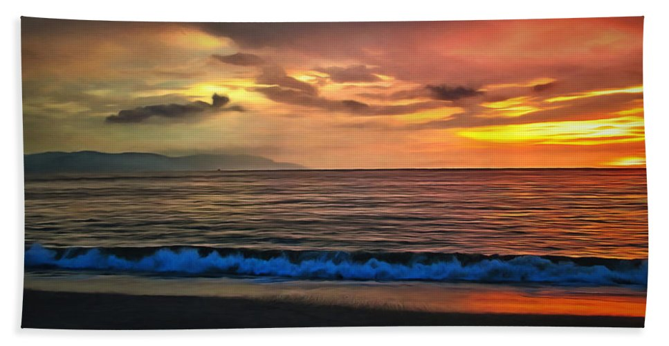 Clouds Hand Towel featuring the painting Sunset 1577 by Lola Villalobos Jungk