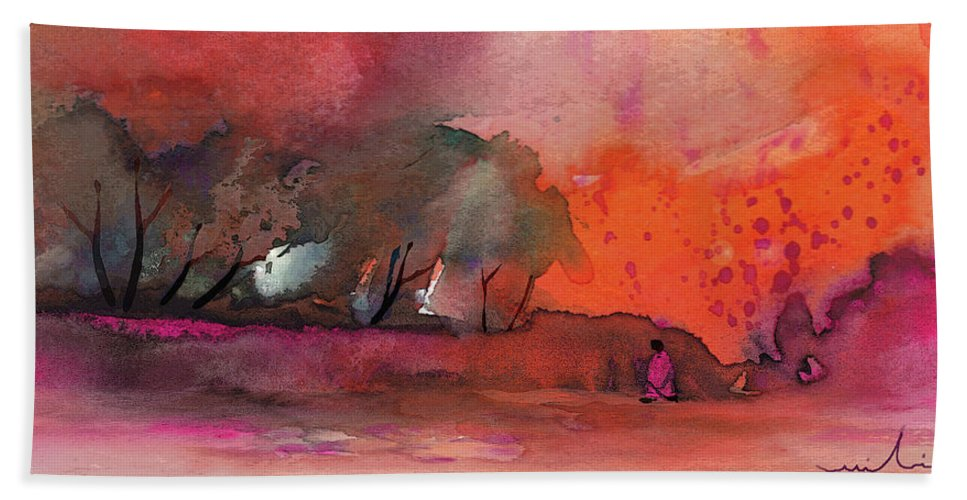 Impressionism Bath Sheet featuring the painting Sunset 28 by Miki De Goodaboom