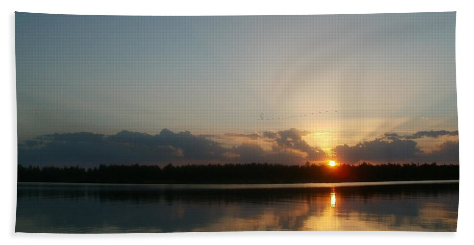 Landscape Bath Sheet featuring the photograph Sunset And Birds by Constantin Musat