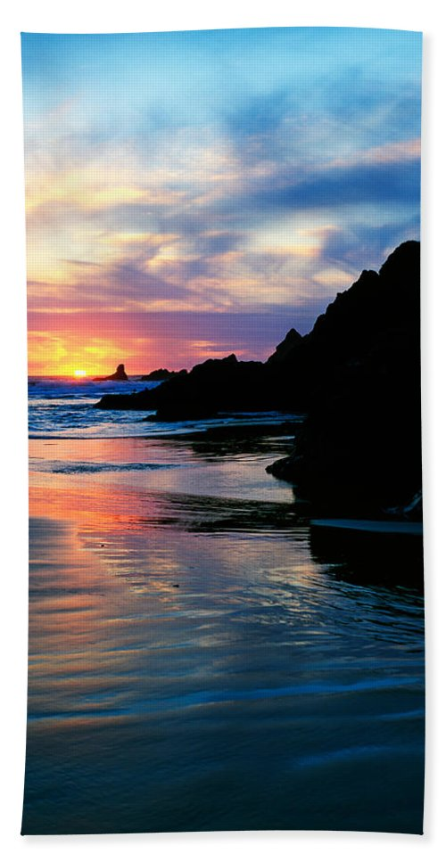 Photography Bath Sheet featuring the photograph Sunset And Clouds Over Crescent Beach by Panoramic Images