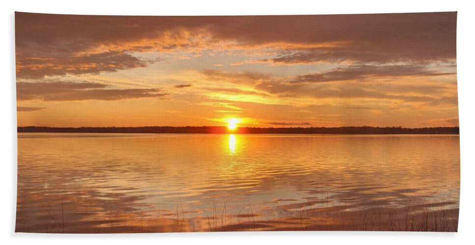 Lake Water Shore Reeds Beach Sunset Sky Bath Sheet featuring the photograph Sunset by Andrea Lawrence