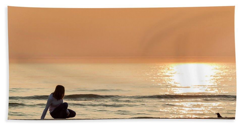 Summer Bath Sheet featuring the photograph Sunset At Beach by Ginta Puke