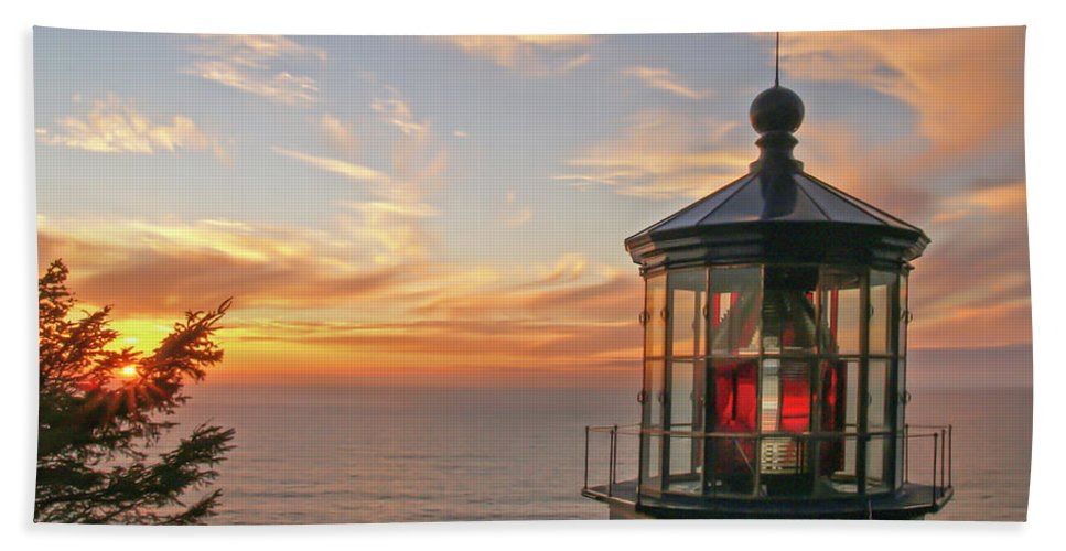 Cape Meares Bath Sheet featuring the photograph Sunset At Cape Meares by Tim Moore
