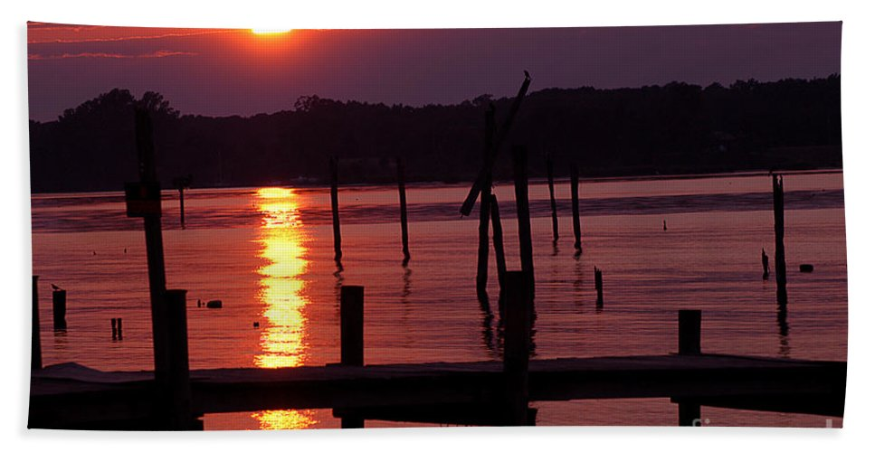 Clay Hand Towel featuring the photograph Sunset At Colonial Beach by Clayton Bruster
