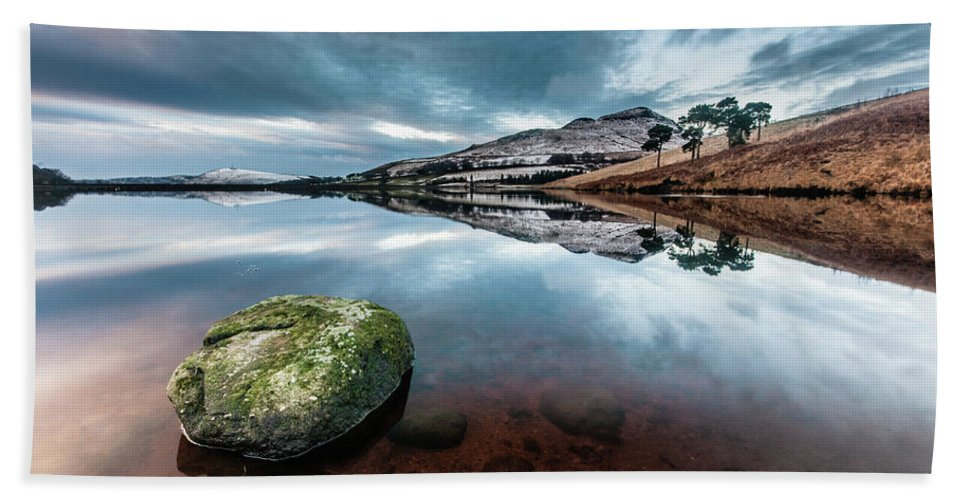 Sunset Bath Towel featuring the photograph Sunset at Dovestone Reservoir, Greater Manchester, North West England by Anthony Lawlor