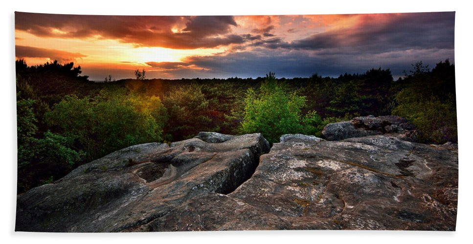 Fontainebleau Bath Sheet featuring the photograph Sunset At Fontainebleau by Olivier Blaise