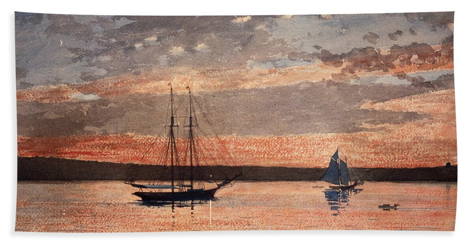 19th Century American Painters Hand Towel featuring the painting Sunset At Gloucester by Winslow Homer