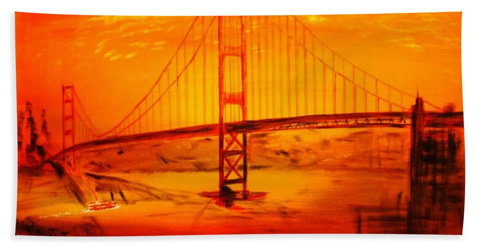 Sunset At Golden Gate Bath Towel featuring the painting Sunset At Golden Gate by Helmut Rottler
