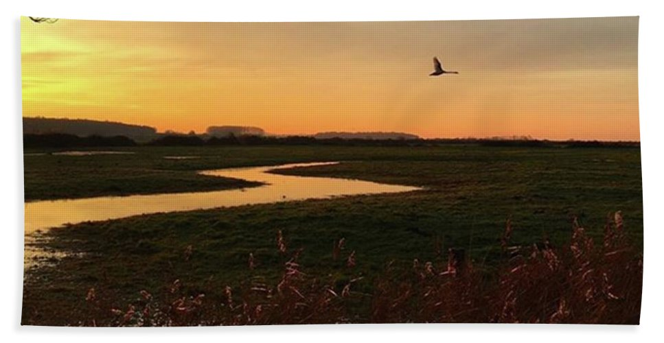 Natureonly Bath Towel featuring the photograph Sunset At Holkham Today  #landscape by John Edwards