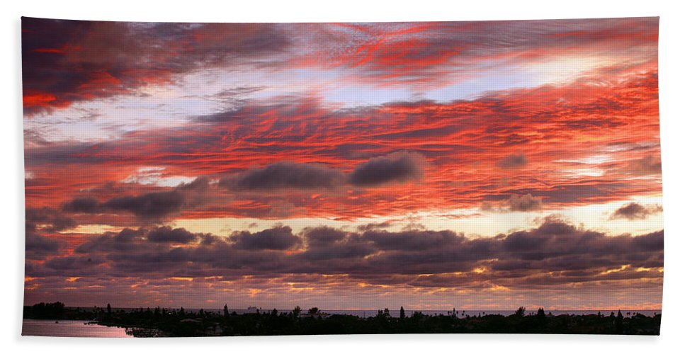 Sun Hand Towel featuring the photograph Sunset At Pass A Grille Florida by Mal Bray